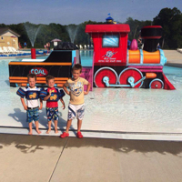 All aboard! The kids will go loco for this trainload of fun located at the zero-depth end of the main pool. You'll be able to keep an eye on your kids as they stay happy and busy on three slides and random water jets spray them with summer magic.